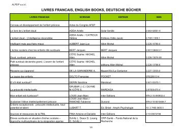 LIVRES FRANCAIS, ENGLISH BOOKS, DEUTSCHE BÜCHER - alpeip