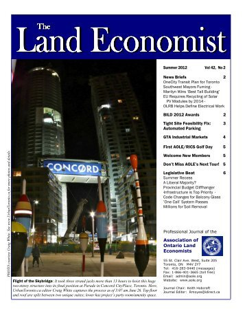 2012 Summer - Association of Ontario Land Economists
