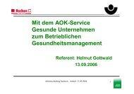 Mit dem AOK-Service Gesunde Unternehmen zum Betrieblichen ...