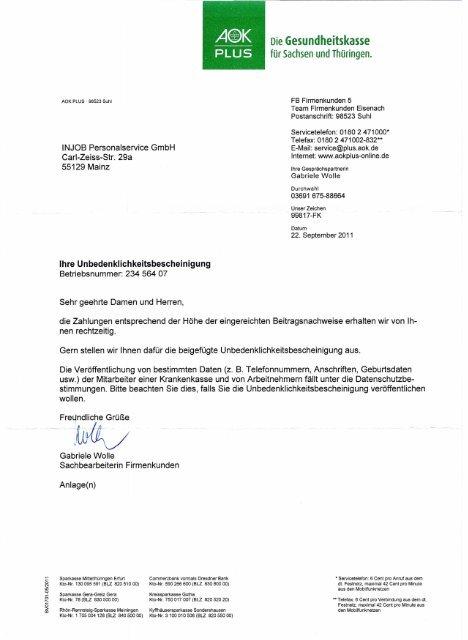 Unbedenklichkeitsbescheinigung Aok Plus Sachsen Thüringen