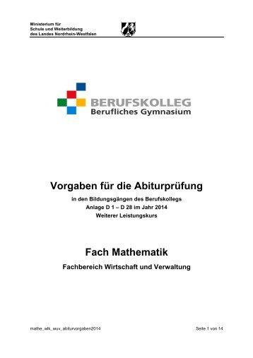 Vorgaben für die Abiturprüfung - Standardsicherung NRW