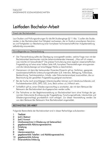Leitfaden Bachelorarbeit Hochschule Regensburg