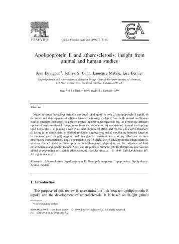 Apolipoprotein E and atherosclerosis - University of Toronto