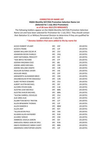 CORRECTED BY-NAME LIST HQDA Monthly SGT/SSG Promotion ...