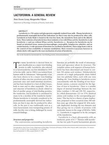 lactoferrin: a general review - Haematologica