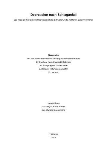 Depression nach Schlaganfall - TOBIAS-lib - Universität Tübingen