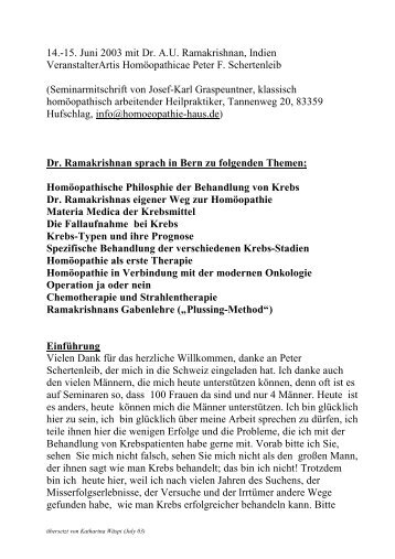 Ramakrishnan: Krebsbehandlung - Dr. med. Thomas Quak