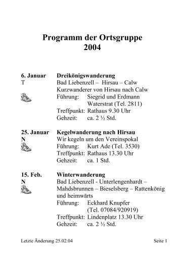 Wanderplan der gesamten Ortsgruppe - Schwarzwaldverein Bad ...