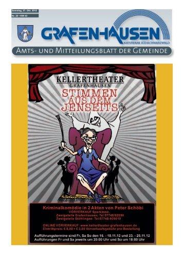 Mittwoch 07. 11. 2012 19:30 Uhr - Gemeinde Grafenhausen