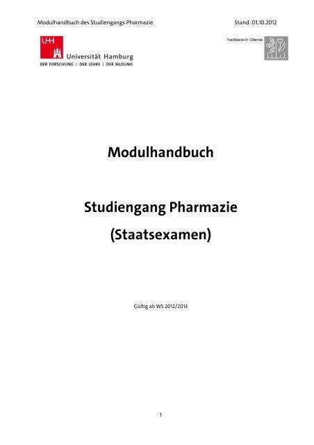 Modulhandbuch Studiengang Pharmazie Chemie Universität