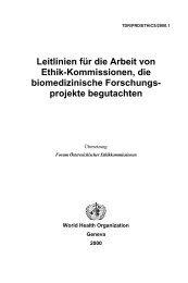 Leitlinien für die Arbeit von Ethik-Kommissionen, die biomedizinische
