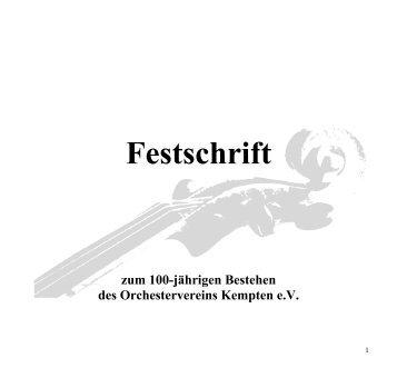 Festschrift zum 100-jährigen Bestehen des Orchestervereins ...