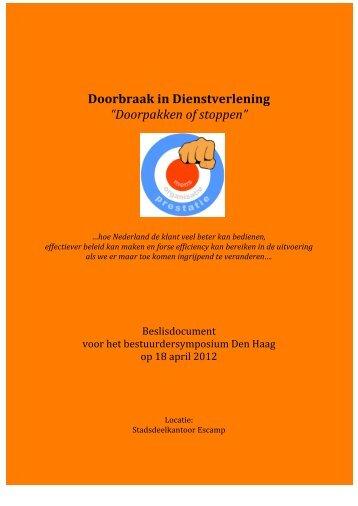 """Doorbraak in Dienstverlening """"Doorpakken of stoppen"""""""