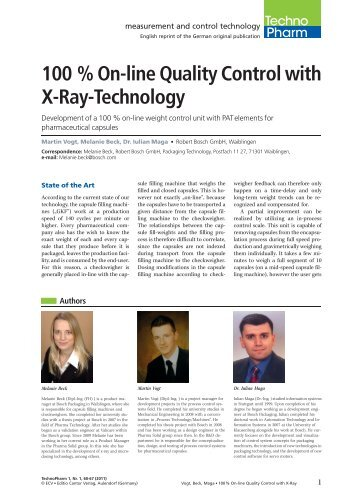 100 % On-line Quality Control with X-Ray-Technology - Bosch ...
