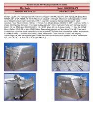 Manton Gaulin APV Homogenizer MC75 Series Mfg: Gaulin Model ...