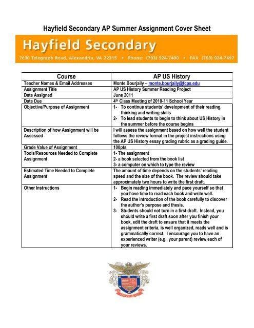 fcps summer homework