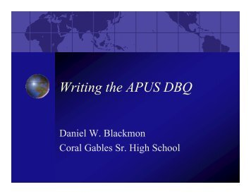 Writing the APUS DBQ - Advanced Academic Programs