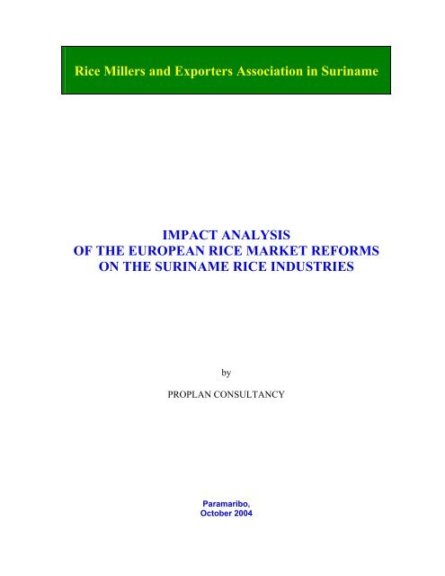 Rice Millers and Exporters Association in Suriname IMPACT