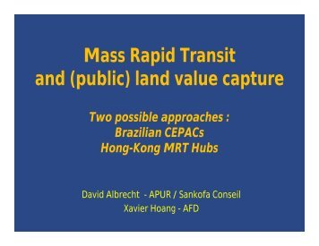 (public) land value capture - Institute of Urban Transport (India)