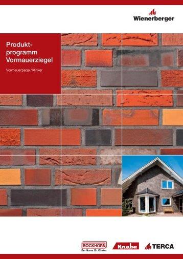 Produkt- programm Vormauerziegel - ENEV-Online.de