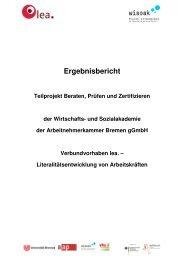 Ergebnisbericht zum Teilprojekt - Wirtschafts