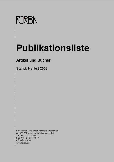 Publikationsliste Artikel und Bücher Stand: Herbst 2008 - FORBA