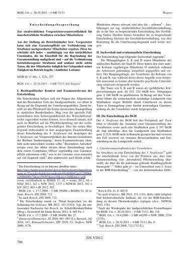 4 StR 71/11 Wagner Entscheidungsbesprechung Zur ... - ZJS