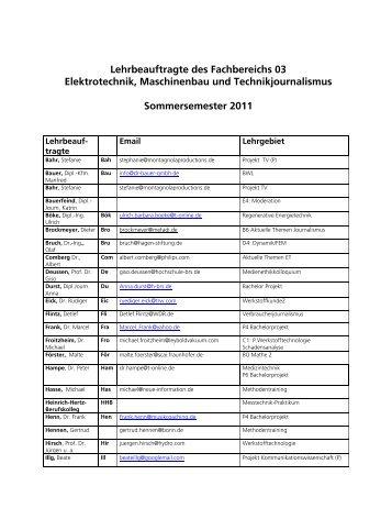 Lehrbeauftragte des Fachbereichs 03 Elektrotechnik, Maschinenbau