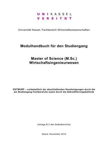 Modulhandbuch für den Studiengang Master of ... - Universität Kassel