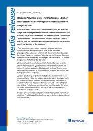 """Borealis Polymere GmbH mit Gütesiegel """"Sicher mit System"""" für ..."""