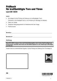 Prüfbuch für kraftbetätigte Tore und Türen - Hörmann KG