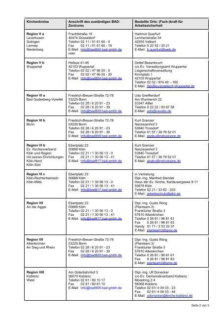 Liste Sicherheitsfachkräfte und BAD Standorte