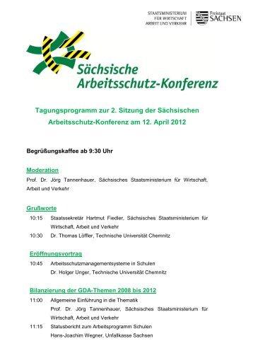 Tagungsprogramm der 2. Sitzung der Sächsischen Arbeitsschutz ...