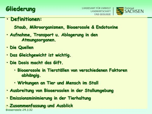 Bioaerosole im Umfeld von Tierhaltungsanlagen - Landwirtschaft in ...