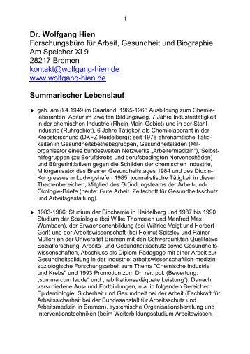 Summarischer Lebenslauf - Wolfgang Hien