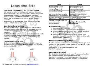 Operative Behandlung der Fehlsichtigkeit - Medicent Innsbruck