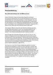 Pressemitteilung - UKSH Universitätsklinikum Schleswig-Holstein