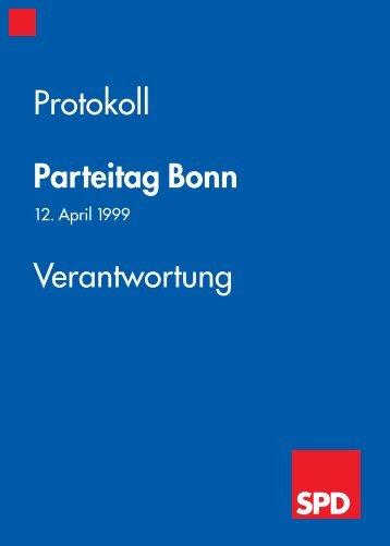 Protokoll Parteitag Bonn Verantwortung - SPD