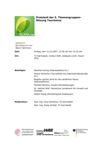 Protokoll der 5. Themengruppensitzung Tourismus - KLARA-Net