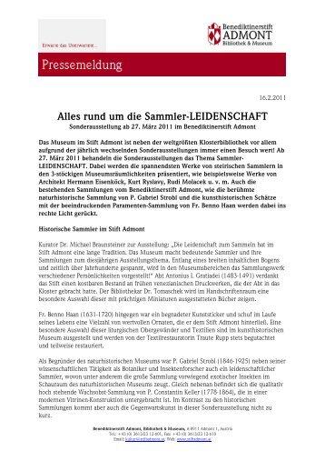 Alles rund um die Sammler-LEIDENSCHAFT - Stift Admont