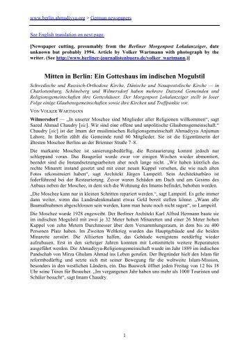Mitten in Berlin - The Lahore Ahmadiyya Islamic Movement