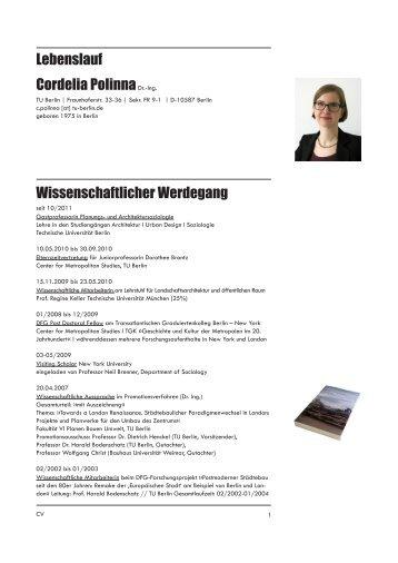 Lebenslauf - und Architektursoziologie - TU Berlin