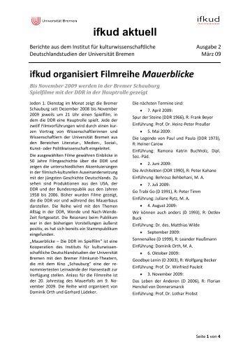 ifkud aktuell - ifkud - Universität Bremen