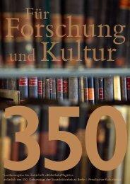 Sonderheft zu 350 Jahre Staatsbibliothek zu Berlin