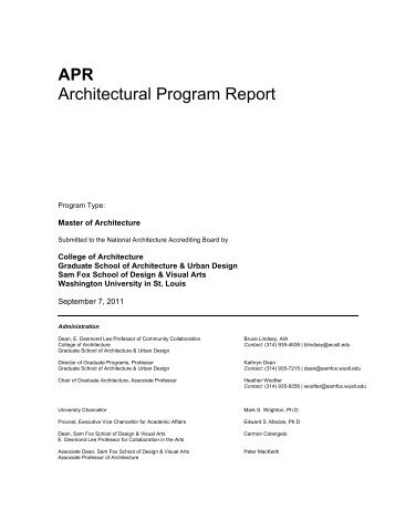 APR Architectural Program Report - Sam Fox School - Washington ...
