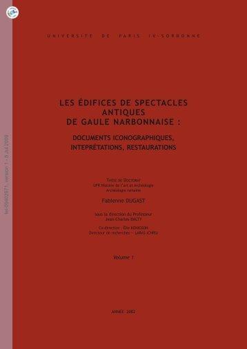 Les édifices de spectacles antiques de Gaule Narbonnaise ...
