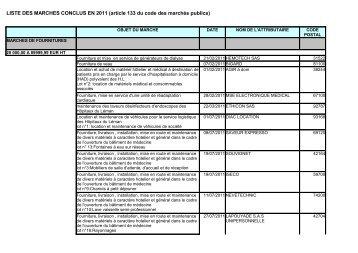 LISTE DES MARCHES CONCLUS EN 2011 - Hôpitaux du Léman