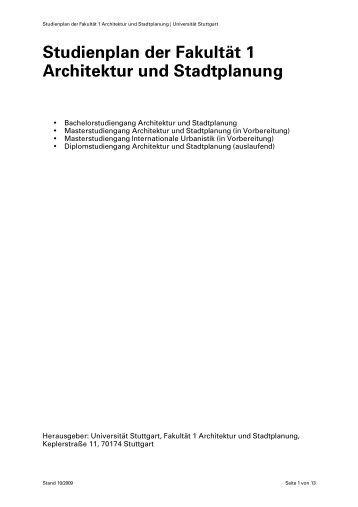 Fachrichtung architektur stadtplanung im fachbereich for Studienplan architektur