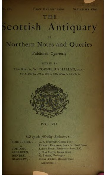 The Scottish Antiquary, Or, Northern Notes ... - Electric Scotland
