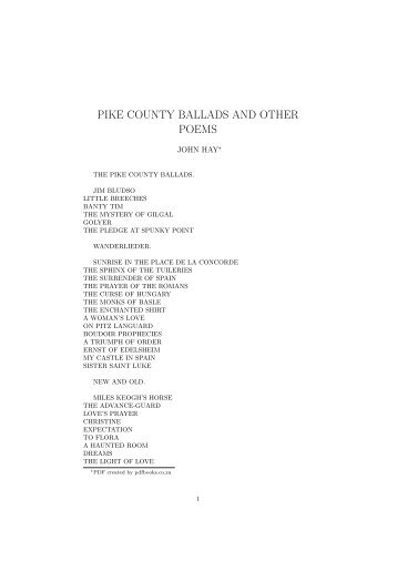 PIKE COUNTY BALLADS AND OTHER POEMS - PDFbooks.co.za